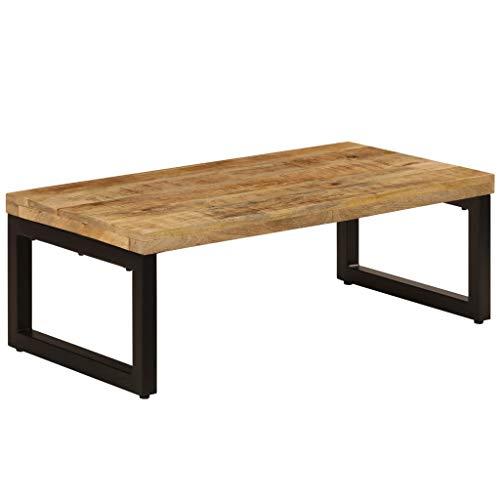 vidaXL Table Basse Bois de Manguier Massif et Acier Table de Salon Séjour