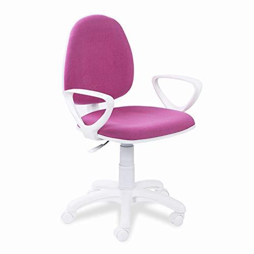 Adec - Dolphin, Silla de Escritorio giratoria, Silla Juvenil de Oficina, Color Rosa, Medidas: 54 cm (Ancho) 54 cm (Fondo) x 79-91 cm (Alto)