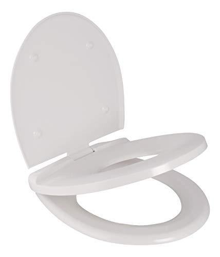 Calmwaters® Premium Familien WC Sitz mit Kindersitz integriert, antibakteriell, abnehmbar, multi Absenkautomatik, Klobrille mit Kindersitz, Klodeckel mit Kindereinsatz, Toilettendeckel Family Weiß