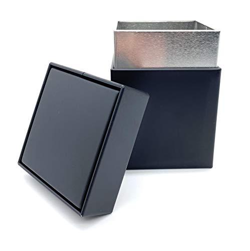 Perfekto24 Teedose für losen Tee 150g – Vorratsdose für Tee in Schwarz – Tee Aufbewahrung mit Aromadeckel - aromadicht/luftdicht – Blechdose eckig - BPA frei