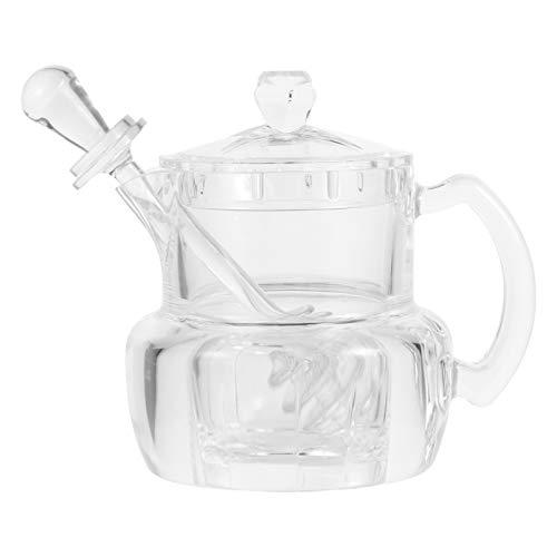 Yardwe Acrylique Miel Distributeur avec Cuillère à Miel Bâton Clair Contenant du Miel Sirop Et Le Sucre Pot Pot pour Cuisine 12. 4X11. 9CM
