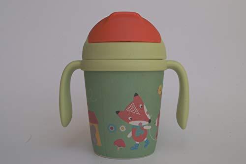 Bambusbecher für Kinder mit Trinkhalm ♻ Kanne mit Henkel, Deckel und Tülle aus Bambusfaser 300 ML - Öko Flasche, Ideal für Babys - Umweltfreundlich Becher, Ókologische (BPA-frei) - Spülmaschinenfest