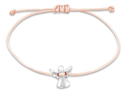 Nuoli® Schutzengel Armband Rosa (deutsche Handarbeit) Glücksbringer Armband für Mädchen und Frauen, Engel Anhänger in Silber