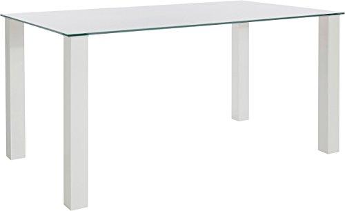 Loft24 Naomi Esszimmertisch Küchentisch Glastisch Konferenztisch Hochglanz weiß 160x90x76 cm Modernes Design