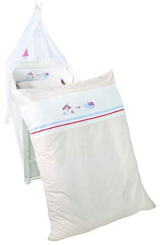 roba 1492V170 Happy Circus - Juego de ropa de cama infantil (4 piezas, funda nórdica de 100 x 135 cm, funda de almohada y protector de cuna y dosel, multicolor