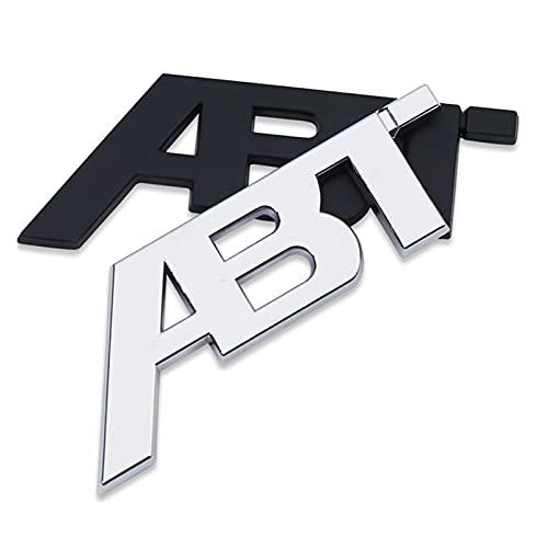 FSLLOVE Chrome Silver Matte Glossy Gloss Black ABT 3D Adhesivo Trasero Cuerpo Cuerpo Car Insignia Emblema Pegatinas Logotipo Ajuste para Audi VW (Color Name : Glossy Black)