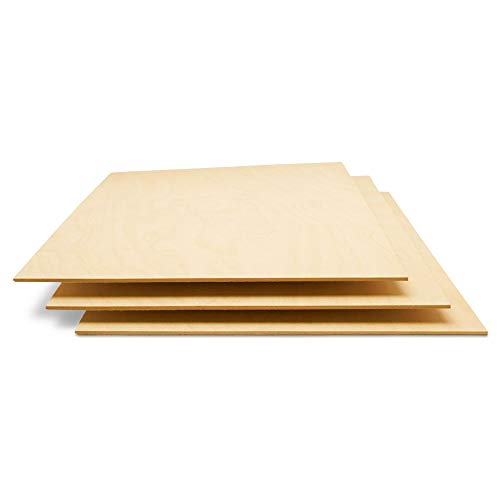 Baltic Birch Plywood, 3 mm 1/8 x 12 x 24 Inch Craft Wood, Box of 20 B/BB Grade Baltic Birch Sheets, Perfect for Laser, CNC Cutting and Wood Burning, by Woodpeckers