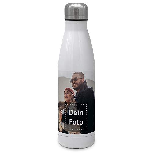 PhotoFancy Trinkflasche mit Foto - Thermosflasche mit eigenem Foto Bedrucken - Thermo-Trinkflasche Bedruckt - Aluminiumflasche mit Foto