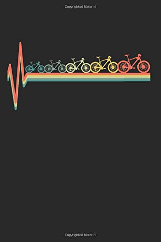 MTB Mountain Bike Heartbeat Retro Gift for Birthdays and Christmas: 6x9 Notebook Journal 120 Pages Dot Grid