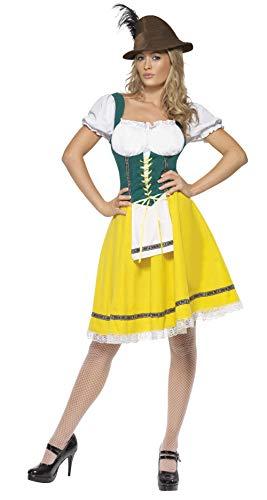 Smiffys-41160S Disfraz de Fiesta de la Cerveza, Mujer, Vestido con Delantal Unido, Color Amarillo, S-EU Tamaño 36-38 (Smiffy'S 41160S)