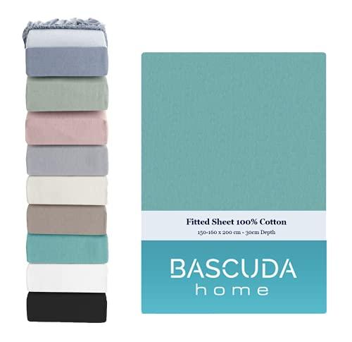 Bascuda Lenzuolo con angoli lusso 160x200 cm letto boxspring - lenzuola in jersey di cotone 100%, morbide, di facile manutenzione, antipiega - 9 colori - lenzuola con angoli per materassi 160x200 cm