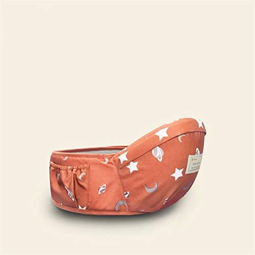 Ergonomische Babytrage/Kindertrage Babytrage, 45 Grad Baby Taille Hocker/Kindersitz/Holding Baby Taille Hocker Strap Star Print Single Hocker Stillen Tragetuch (Color : Starry orange)