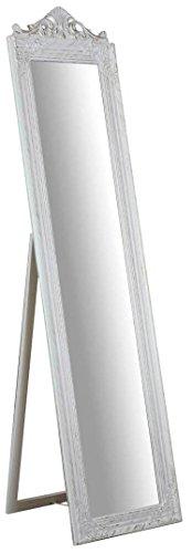 Biscottini Specchio, Specchiera Rettangolare da Terra, con Cornice di Finitura Colore Bianco Anticato, Shabby Chic, Bagno, Camera da Letto, L43xPR3,5xH178 cm. Stile Shabby Chic.