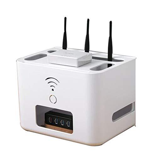 Enrutador Inalámbrico De Escritorio Placa Enchufable Caja De Almacenamiento Decodificador Rack Caja WiFi Artefacto Cable Caja De Acabado (Color : Blanco, Size : 29 * 21 * 21cm)