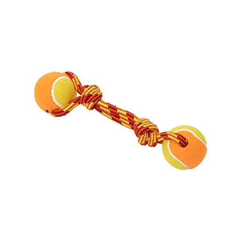 Buster Dog Toys, Tuggaball Double Tennis Ball Double Knot, Orange, 9 in Air Kong Squeaker Dumbell