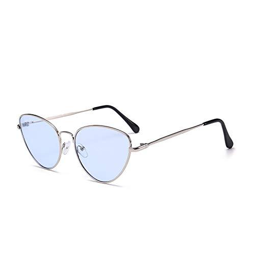 Gafas de Sol Gafas De Sol Pequeñas Y Sexis De Ojo De Gato Vintage para Mujer, Gafas De Sol Rojas Y Negras Vintage para Mujer, Gafas De Sol Retro, Plateadas, Azules