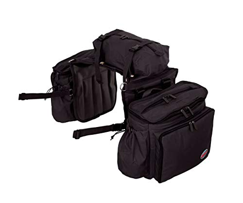 Reinsman Deluxe Insulated Leakproof Cooler Saddle Bag with Additional Cantle Bag and Straps, Black