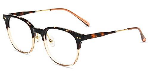 Firmoo Blaulichtfilter Gläser Computer Brille ohne Sehstärke, Entspiegelte Blaulichtbrille Rundförmige Vollrandbrille Unisex Arbeitsplatzbrille Anti 400UV Strahlung, Leopard Große Brille