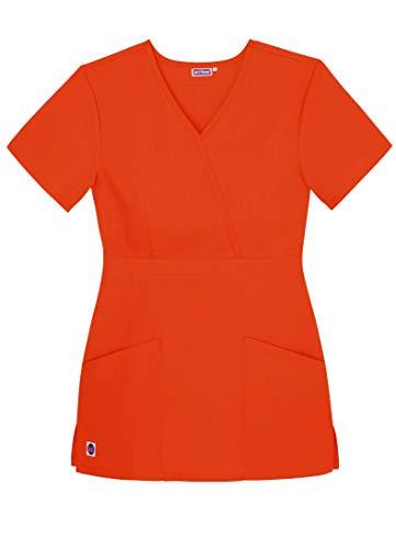 Sivvan Women's Scrubs Mock Wrap Top - S8302 - Mandarin Orange - M