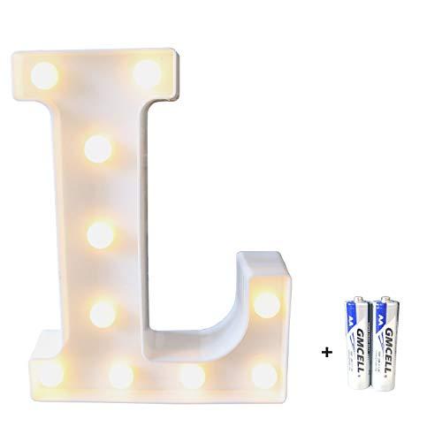 LED Buchstabe Lichter Alphabet, LED Brief Licht, Led dekoration für Geburtstag Party Hochzeit & Urlaub Haus Bar - Buchstabe L