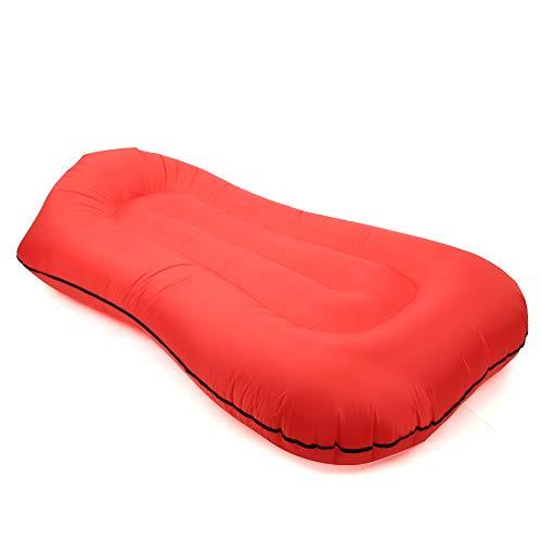 Velaurs Saco de Dormir, Plegable, Inflable, de Alto Grado, cómodo, Saco de Dormir Plegable, Ligero y fácil de Dormir al Aire Libre(Red)