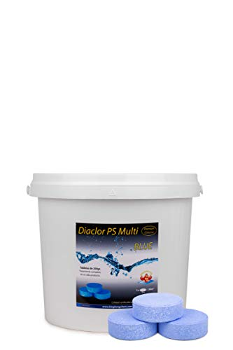 Cloro para Piscinas DIACLOR PS Multi Blue 5 KG - 25 Pastillas de Cloro Lento Azul (200 gr) - Tratamiento Completo Multiacción