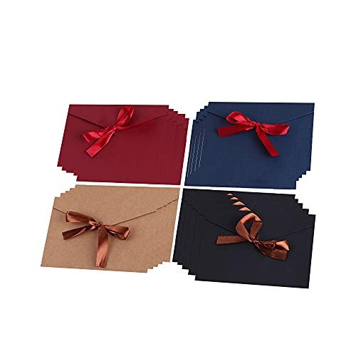 Sobres de Papel Kraft Retro, 20 Piezas Sobres de Papel Kraft, Sobre Kraft Sobre de Papel, Papel de Colores Con Lazo Sobre Kraft para Carta, Tarjeta de Cumpleaños, Sobre de Invitación