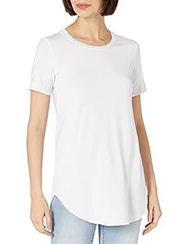 Daily Ritual Women s Jersey Short-Sleeve Open Crewneck Tunic White Medium