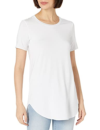 Daily Ritual Women's Jersey Short-Sleeve Open Crewneck Tunic, White, Medium