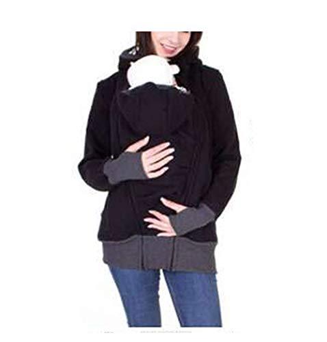 Jolie Portador de bebé Chaqueta 2 en 1 Lana Cerrar Madre Canguro Sudaderas de Maternidad Saco Manga Larga El Embarazo Pull-Over,Aspicture,XL