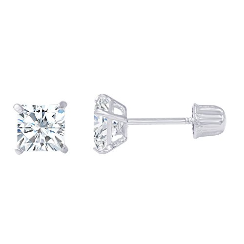 14K White Gold Square Solitaire Princess Cut Cubic Zirconia CZ Stud Screw Back Earrings - 0.5ct (4mm)