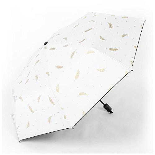 Paraplu Vouwen Paraplu's Man Vrouwen Bronzen Paraplu Zon UV Bescherming Regenwind Weerstand Veren Handmatige Zonnescherm Draagbare Tri-fold Paraplu
