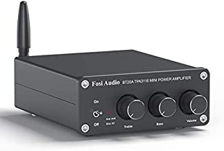 BT20A Bluetooth 5.0 Stereo Audio 2 Channel Amplifier Receiver Mini Hi-Fi Class D Integrated Amp 2.0 CH for Home Speakers 100W x 2 with Bass and Treble Control TPA3116 (with Power Supply)