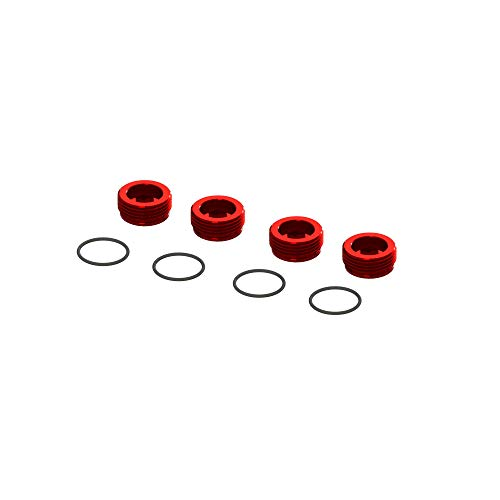 ARRMA Aluminum Front Hub Nut Red (4) with O-Rings, ARA320467
