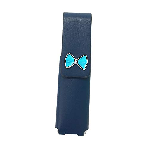 IQOS 3 MULTI 専用 アイコス3 リボン 本革 マルチ ケース (ブルー/プチリボンブルーpt27) iQOSケース シンプル 無地 保護 カバー 収納 カバー 全4色 電子たばこ 革