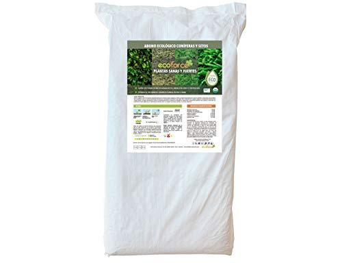 CULTIVERS Abono Ecológico de 25 Kg Coníferas y Setos (Pinos, Abetos, Cipreses y Tuyas).Fertilizante de Origen 100% Orgánico y Natural con Alta Concentración de NPK