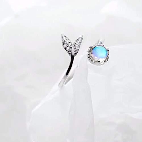 LuckyOne Auténtica plata de ley 925 linda cola piedra lunar personalidad anillo...