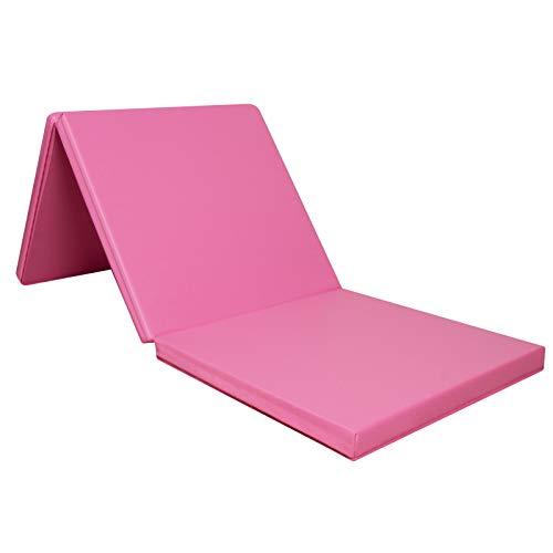 CCLIFE 180x60x5cm Tapis de Gymnastique Epais,Tapis de Yoga Pliable,Tapis Sol Gymnasti Que,Tapis Gymnastique Pliable, Couleur:Rose