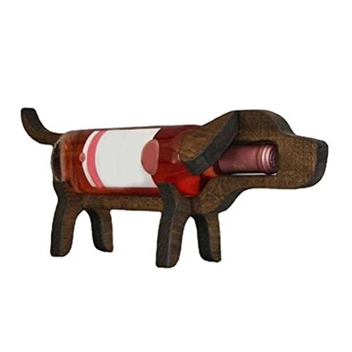 Fangteke Botellero De Madera, Tenedor De Botella De Vino En Forma De Perro De Cerdo Estante De Exhibición De Vino De Forma De Animal para Los Amantes del Vino
