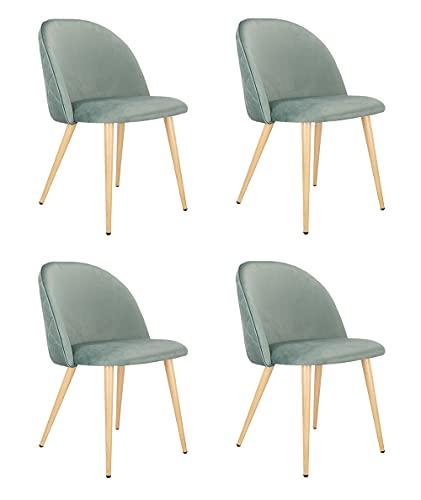 Juego de 4 sillas de comedor para sala de estar, sala de espera, color verde