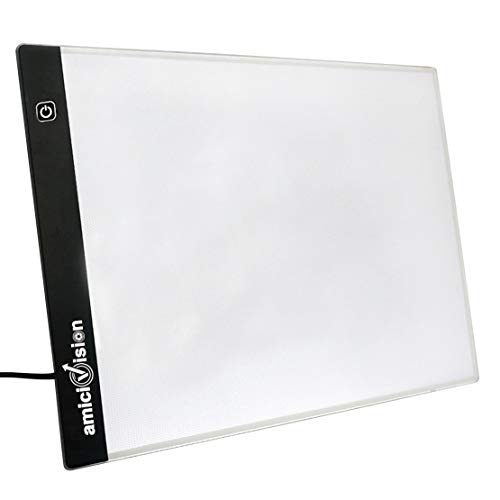 amiciVision LED Lighted Tracing Board A4 Size Drawing Board with Brightness Controlled Touch Button and 1.5m USB Cable