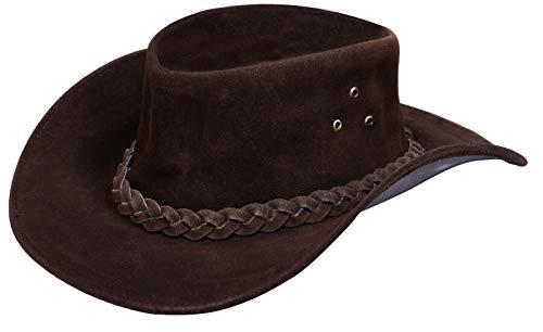 Infinity Leather Unisex Braun Leder Busch Safari Aussie Cowboyhute Stil Klassische Western Wildleder Outback Hut 2XL