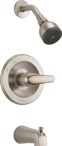 Peerless Single-Handle Tub and Shower Faucet Trim Kit with Single-Spray Touch-Clean Shower Head, Brushed Nickel PTT188753-BN (Valve Not Included)
