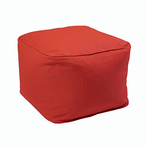 Decor Therapy 7388-01227437 Outdoor Pouf, Ruby Red