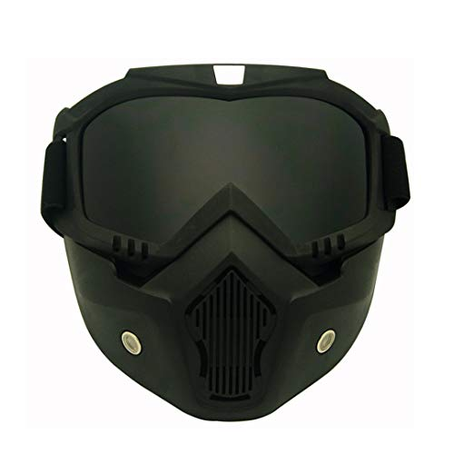 AL-Marnoeist Winddichtes Snowboardbrillen Ski Brille Motocross-Glas mit Gesichtsmaske Schutzausrüstung UV-Schutzbrille C02 Black