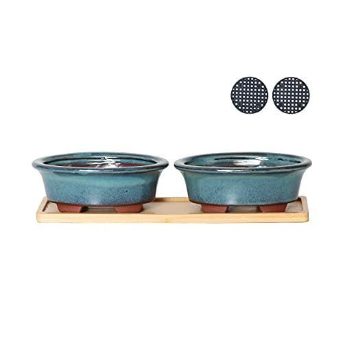 Jinfa | Set de 2 Macetas en cerámica esmaltada para bonsái en Forma Ovalada con Agujeros de Drenaje, 1 Base de bambú y 2 Mallas de Drenaje | Color Turquesa | 13,5 x 9 x 4,7 cm