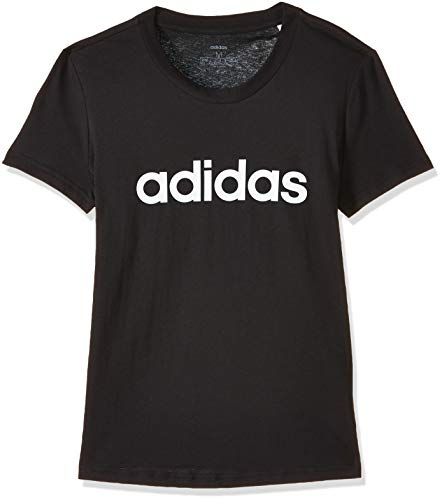 adidas Damen Essentials Linear Slim T-Shirt, Black/White, S