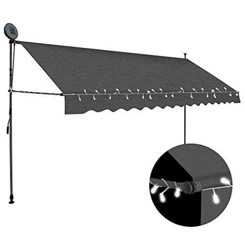 vidaXL Markise Einziehbar Handbetrieben mit LED Wasserabweisend Klemmmarkise Balkonmarkise Sonnenschutz Terrasse Balkon Garten 350cm Anthrazit