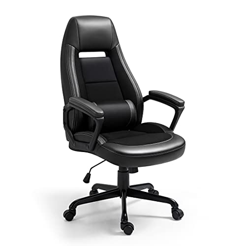 Newnno Office Chair, Home Office Desk Chairs, Executive and Managerial Chair, High Back Comfortable Swivel Computer Chair with PU Leather, Lumbar Support, Wheels, Padded Armrests Black