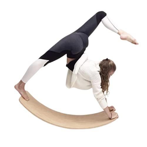 木製 バランスボード 揺れる ボード 体幹 トレーニング ダイエット 子供 大人 フェルト 付き (M&Boo) (イエロー)
